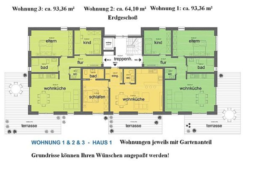 Haus 1: Grundrisse EG-Wohnungen 1, 2 und 3