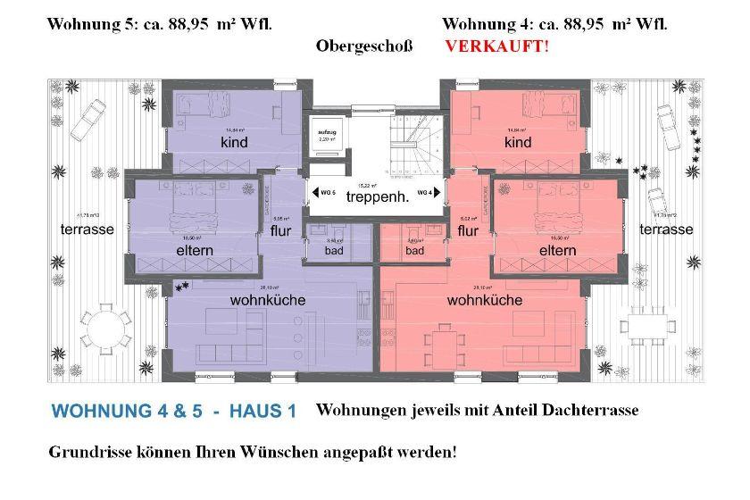 Haus 1: Grundrisse OG-Wohnungen 4 und 5