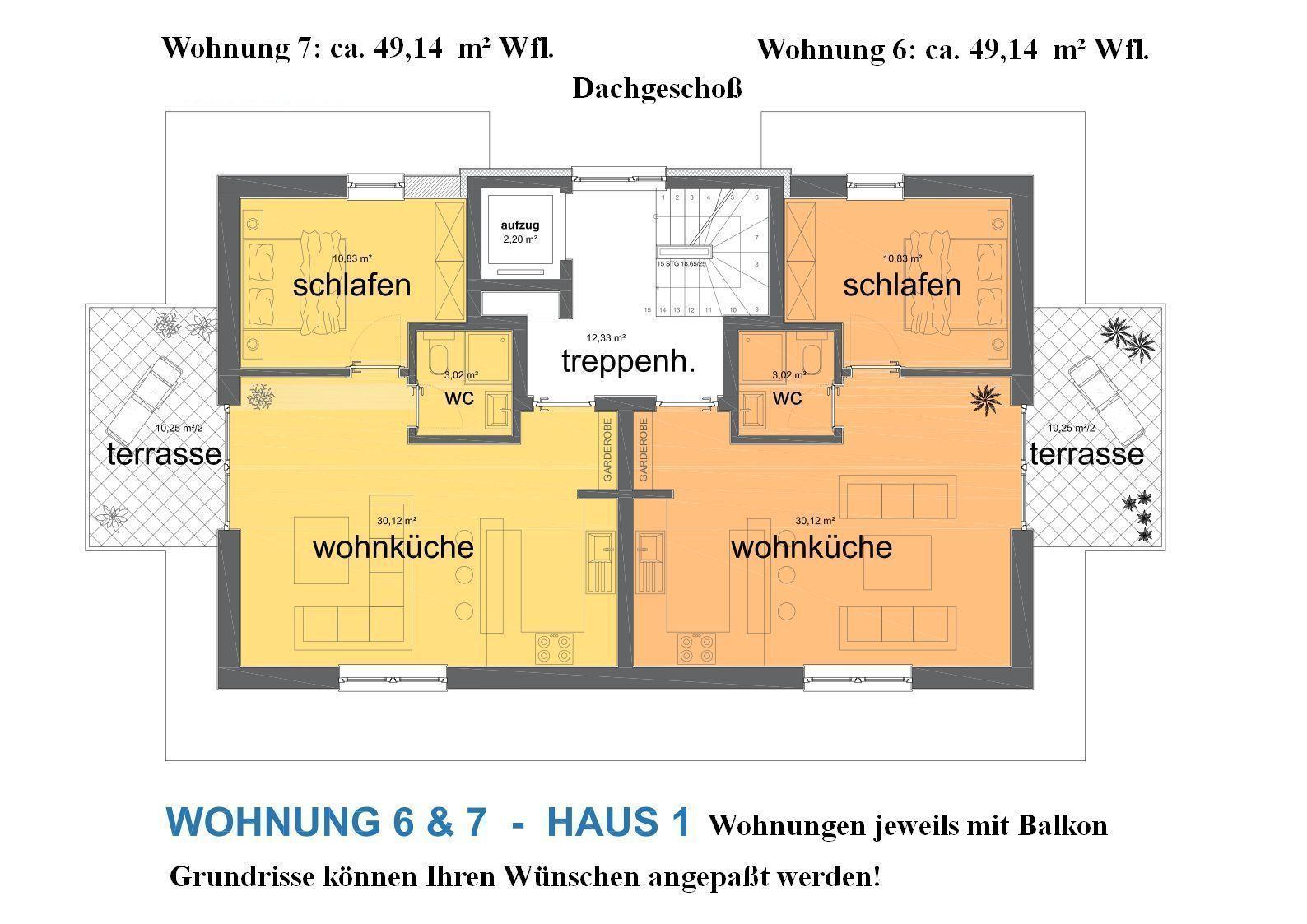 Haus 1: Grundrisse DG-Wohnungen 6 und 7