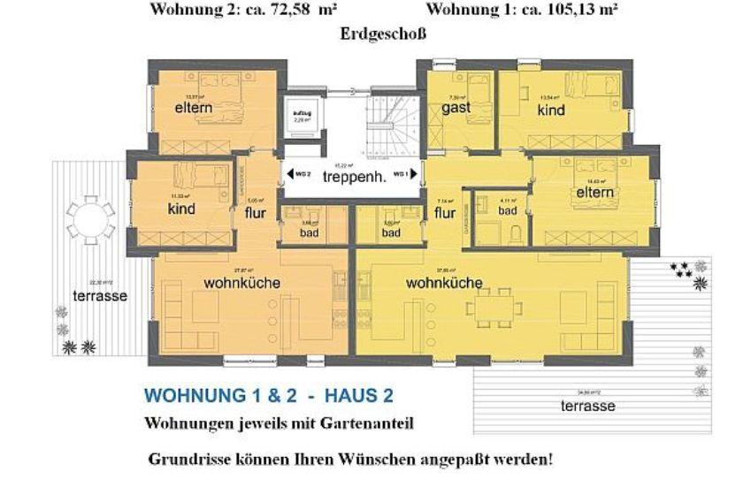 Haus 2: Grundrisse EG-Wohnungen 1 und 2