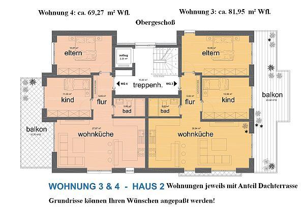 Haus 2: Grundrisse OG-Wohnungen 3 und 4
