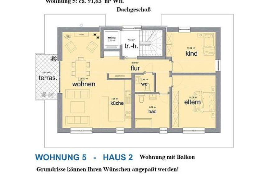 Haus 2: Grundriss DG-Wohnung 5